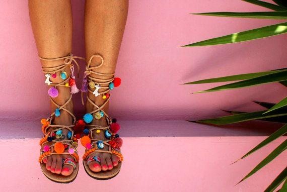 pom pom lace up gladiator sandal shopping list