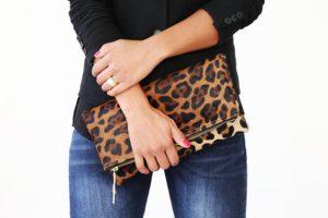 leopard foldover clutch etsy