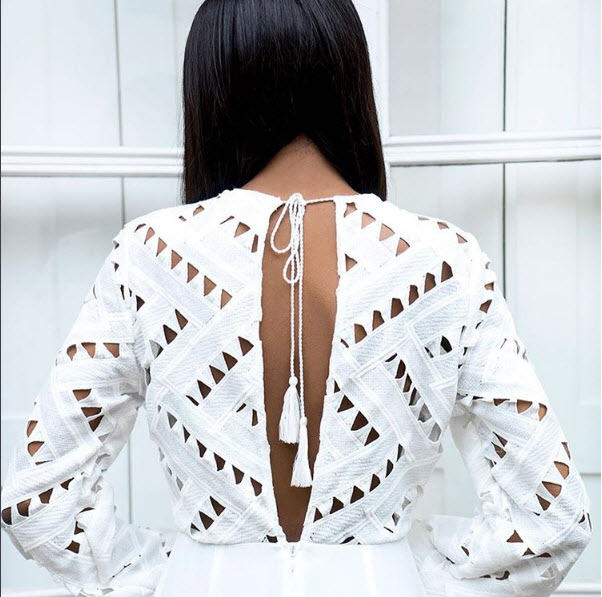 white laser cut eyelet top