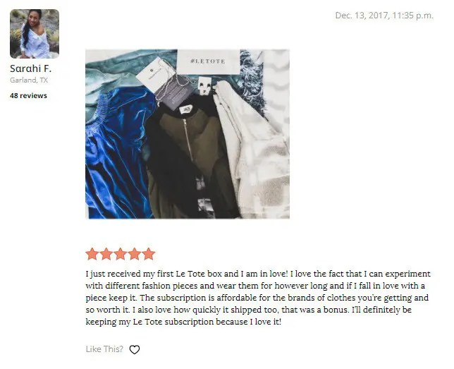 Real Le Tote Customer Reviews