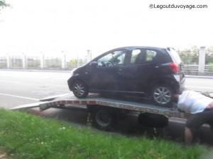 Toyota Aygo sur le plateau - depanneur automobile