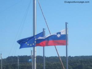 Drapeaux de la Slovénie et de l'Europe
