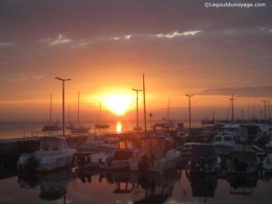 Coucher de soleil sur le port de Koper