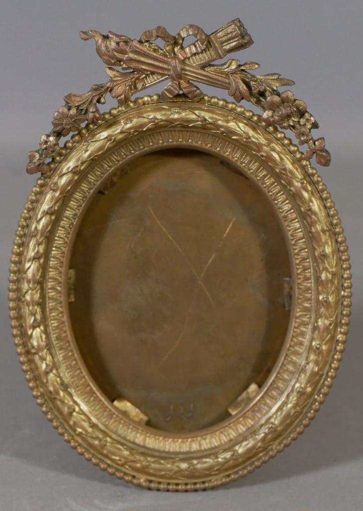 cadre photo ou a miniature de style louis xvi en bronze dore epoque xix eme