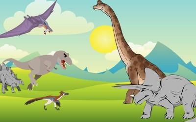 Illustration histoire sur les dinosaures