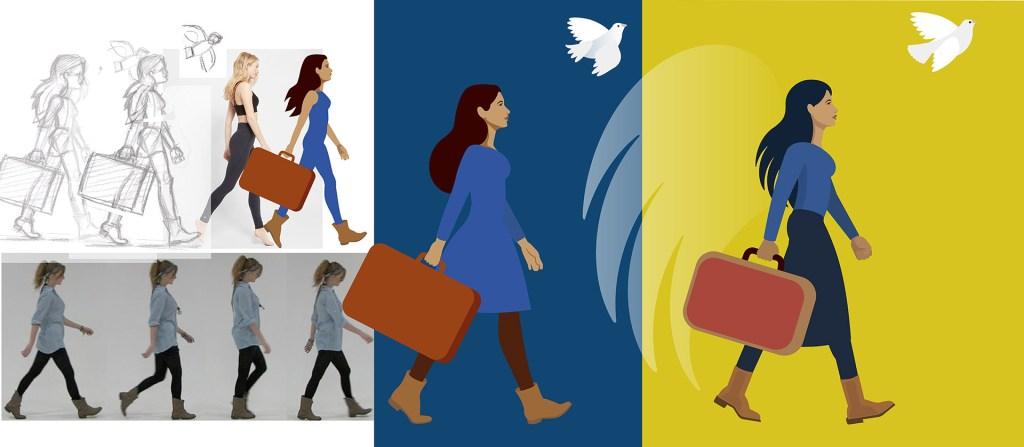 Etapes de création de l'illustration de la femme prenant un nouveau départ : du croquis à photoshop puis illustrator, références photographiques pour le personnage et le mouvement.