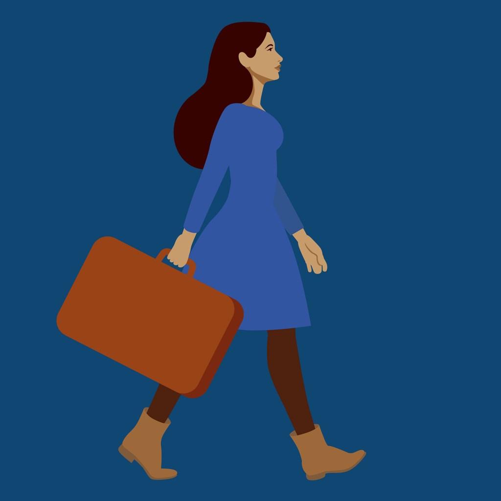 Illustration de femme marchant de manière décidées et tenant une valise