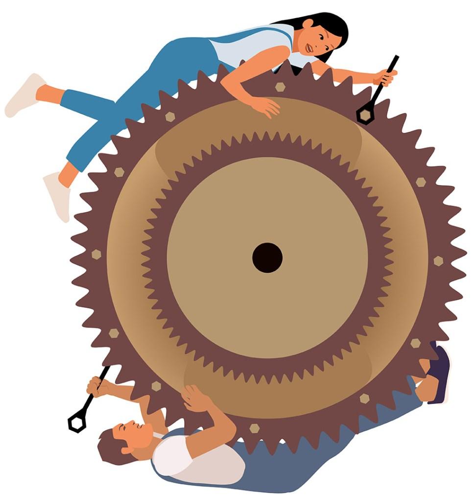 Le cycle de la violence. Engrenage d'usine entrainant un homme et une femme dans un mouvement circulaire.
