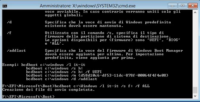 Riparare il boot loader EFI in Windows 8.1