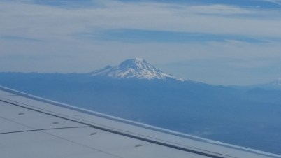 View of Mount Ranier during takeoff from Sea-Tac Airport.