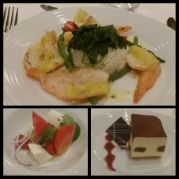 Clockwise from top: Garlic shrimp, tiramisu, and caprese salad.