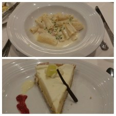 Last dinner on the ship: Rigatoni Alfredo and Key Lime Pie.