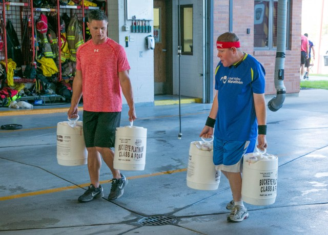 Bart Turner carried containers of foam as part of the adult circuit. Photo: Kaye Collins