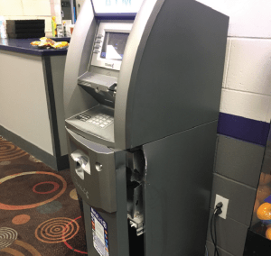 Lehi Jack and Jill's broken ATM machine after the robbery.