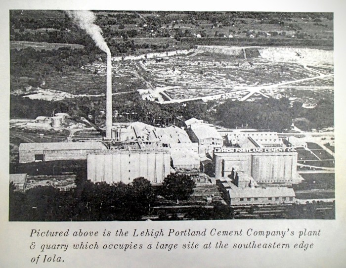 An aerial perspective of the Lehigh Portland Cement Company's plant and quarry.