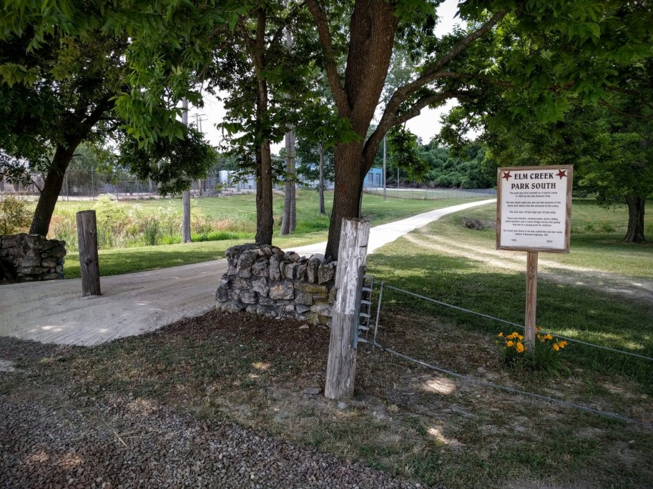 The Connector Trail passes through the entrance to Elm Creek Park South. The area was once a tourist camp, back when this was the King of Trails Highway (precursor to US-169). The stone walls were once part of a stone archway.