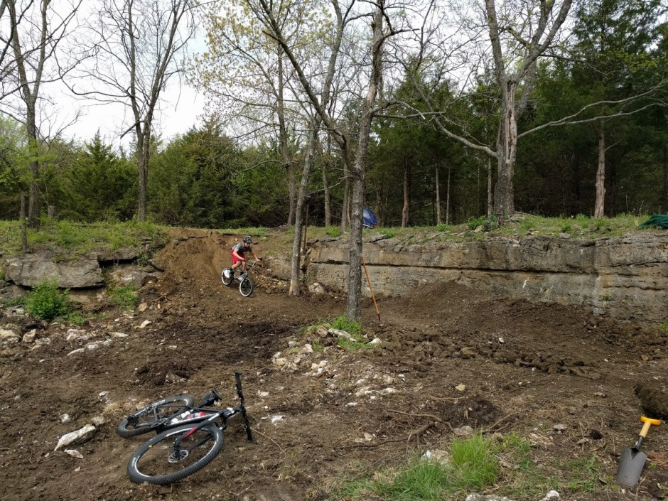 The East Loop passes by the BMX Skills Area, located in a small rock quarry. The quarry provided the rock for many of the stone foundations and stone walls on the property.