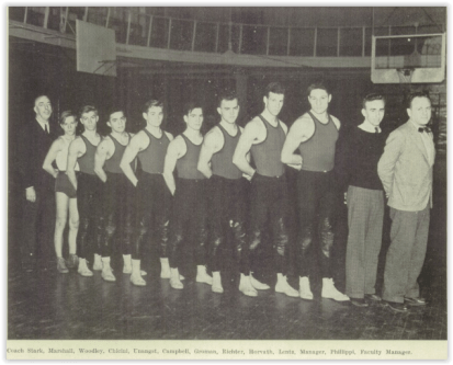 1938 Bethlehem Wrestling Team - First State Champ William Unangst is 5th from the Left (Courtesy of Bethlehem H.S. Yearbook)