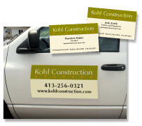 Business cards and magnetic signage for Kohl Construction