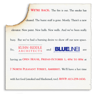 Burnt invitation and copy writing for Kuhn-Riddle Architects