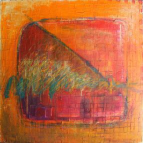 (unknown orange piece) – 48 x 48 Acrylic on woven canvas.