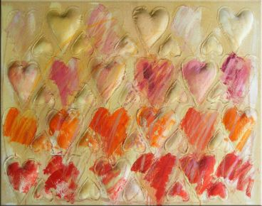 Hearts in a Row – 46 x 36 Acrylics on canvas with polyfill stuffing and hand sewing. There was a period when Kathy was all hearts. She always admired the work of Jim Dine and several of her pieces reflected that.