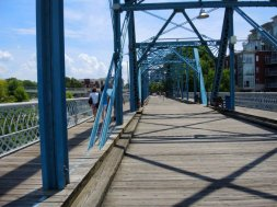 Pedestrian bridge across the river.