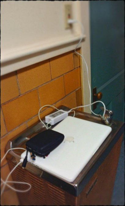 I tried to recharge my laptop at town hall once I found an outlet.