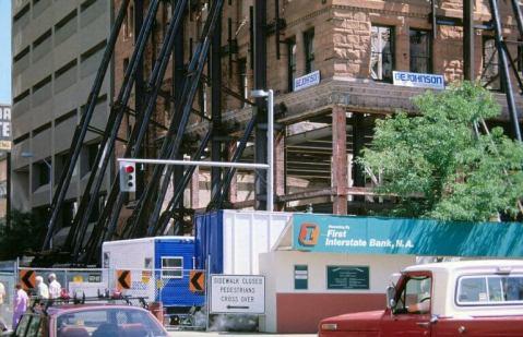 Corner of the construction barricade.
