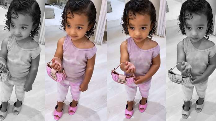 Chicago West Wears Mommy Kim's Heels With All Pink Outfit