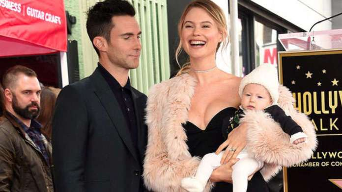 Adam Levine celebrates Hollywood Walk Of Fame with Behati Prinsloo and Dusty Rose