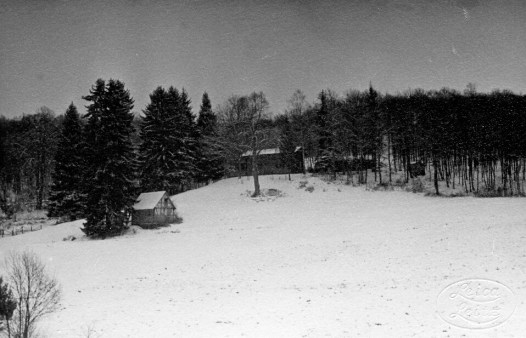 Hunting lodge and stable in winter