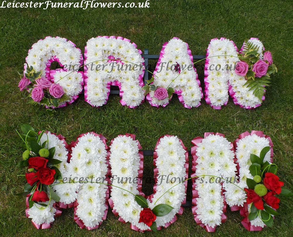 Named letter tributes funeral flowers leicester please note that you can choose any colour ribbon no impact to the cost izmirmasajfo