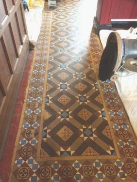 Victorian Tiled Public House Floor Before Cleaning in Hinckley