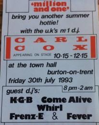 Carl cox burton town hall flyer