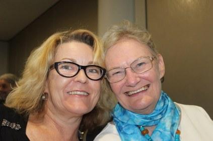 Cat Sparks and Glenda Larke, the evening's MCs