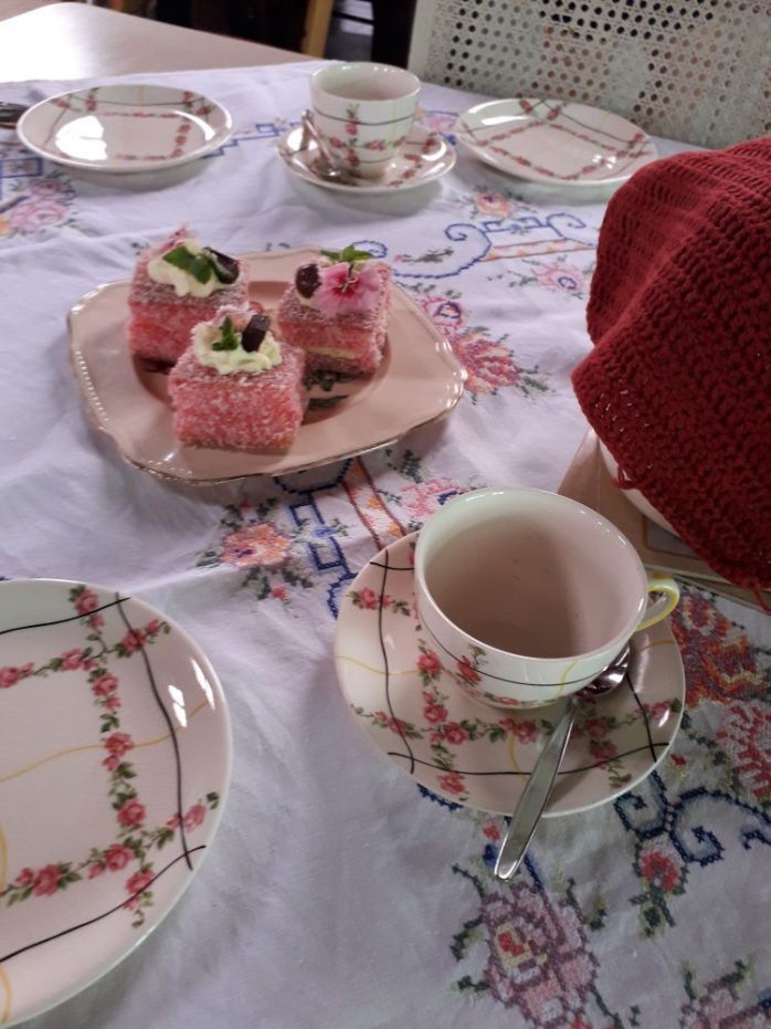 An afternoon tea of lamingtons at St Mary's.