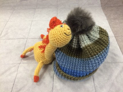 Amanda's Knitted Hat and Lorna's Amigurumi Giraffe