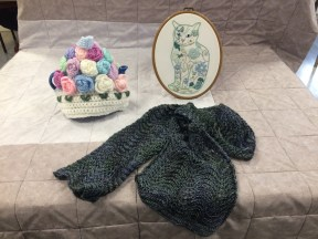 Chrissy's Cat Embroidery, Knitted Tea Cosy and Scarf