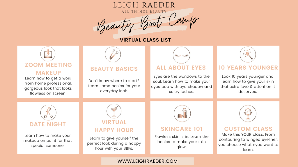 Virtual makeup session class list