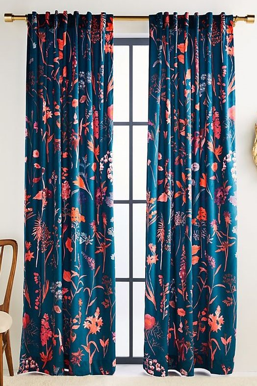 Anthropologie Readymade Curtains Blue Floral