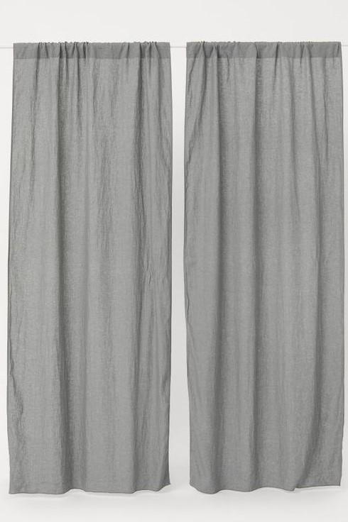 HM Grey Linen Sheer Readymade Curtains
