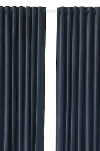Ikea Navy Velvet Curtains