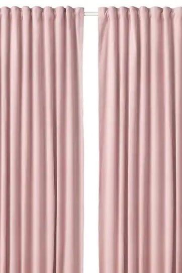 Ikea Pink Velvet Readymade Curtains