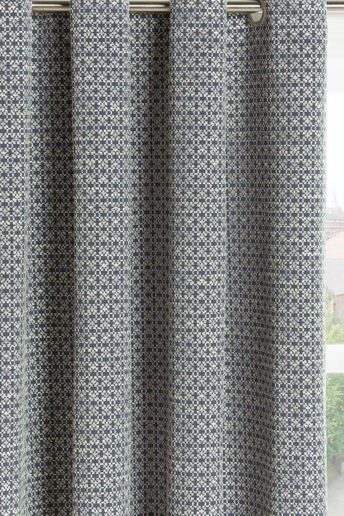 John Lewis Putty Blue Patterned Readymade Croft Curtains
