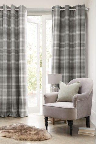 Next Readymade Curtains Grey Tartan