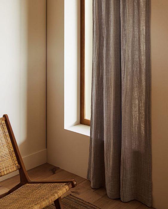 Zara Grey Textured Semi Sheer Readymade Curtains