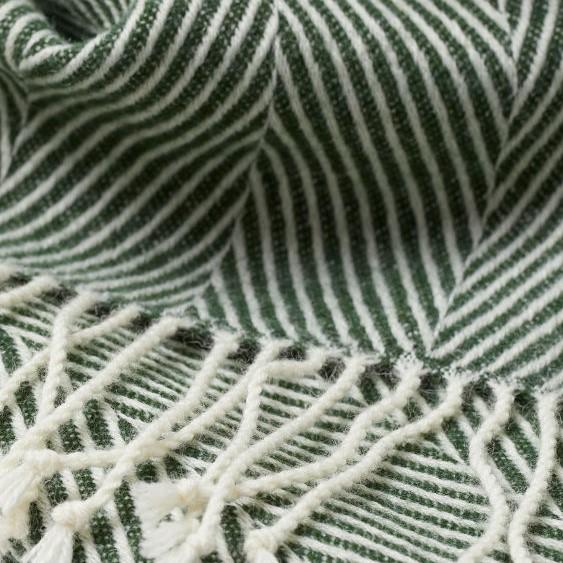 cosy autumn blog - green herringbone throw