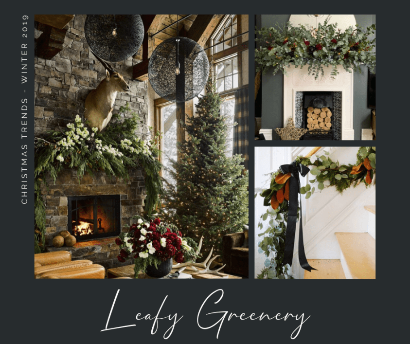 Moodboard of  Christmas decorating trend inspirational images showing large Christmas tree and fire places decorated with foliage