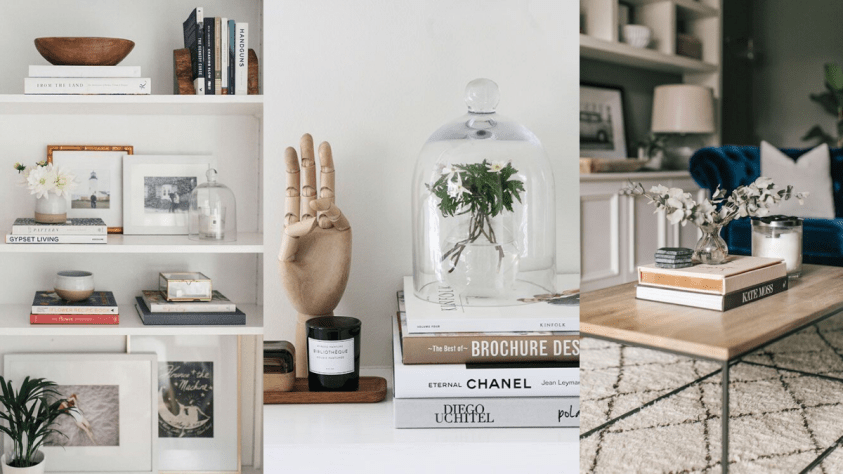 Books styled on shelves and coffee tables with photo frames ornaments and accessories